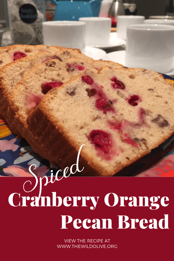 Pinterest graphic for Cranberry-Orange Pecan Bread